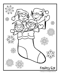 christmas elves stocking coloring woo jr kids activities