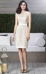cream lace sheath column scalloped short mini bridesmaid dresses