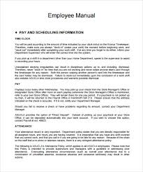 sample employee manual 8 documents in word pdfhr manual