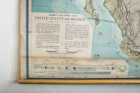Maps United States Sold Vintage Pull Down Map United States And Mexico 1960s