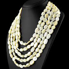 mother pearl necklace images 5 line mother pearl necklace natural oval shape beads gemsmore jpg