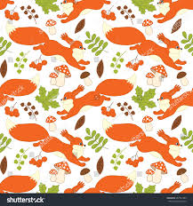squirrel wrapping paper vector seamless pattern forest squirrels stock vector