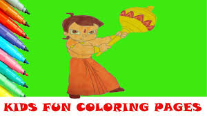 chhota bheem cartoon coloring page kids fun art learning activity