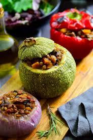 Main Dish Vegetables - stuffed round zucchini vegan petits farcis cilantro and citronella
