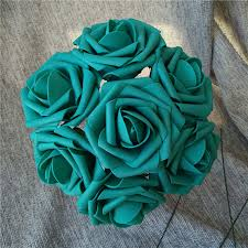 turquoise roses vanrina teal wedding flowers artificial foam roses turquoise