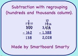 subtraction regrouping smartboard math lesson by smartboard smarty