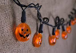 orange halloween string lights 20 led lit pumpkins 6 ft black