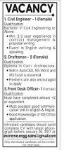 vacancy for female civil engineers draftsman front desk officer