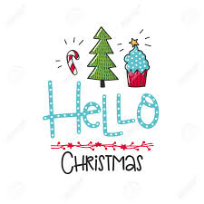 hello christmas tree a vector poster with phrase tree and decor elements typography