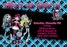 monster high party invites invitation cards for birthdays free