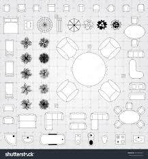 furniture linear vector symbols floor plan icons stock 2