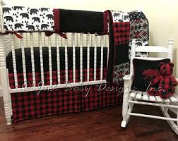 baby bear woodlands crib bedding red plaid crib skirt black