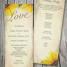 sunflower wedding programs printable customized wedding program rustic sunflower ceremony