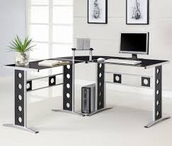 L Shaped Contemporary Desk Modern L Shaped Desk With Glass Door Wall Mount Hutch With Regard