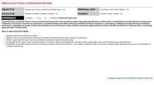 Electrical Supervisor Resume Sample by Electrical Supervisor Cover Letter U0026 Resume
