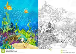 the ocean and the mermaids coloring page royalty free stock