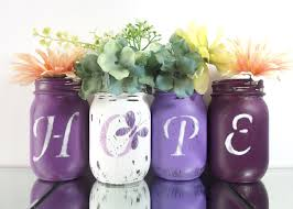 Butterfly Home Decor Accessories Hope Purple Mason Jars Painted Mason Jars Lupus Awareness