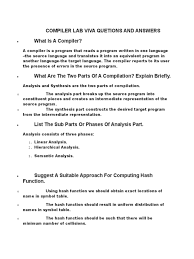 design lab viva questions compiler lab viva quetions and answers parsing compiler