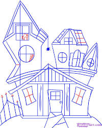 spooky house halloween how to draw a spooky house step by step halloween seasonal