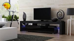 modern tv stand 200cm high gloss cabinet rgb led lights black unit
