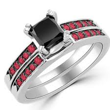 ruby and engagement rings 1 37ct princess cut black ruby engagement ring set