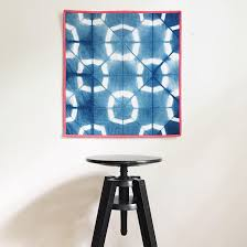 indigo shibori wall quilt hand dyed modern home decor