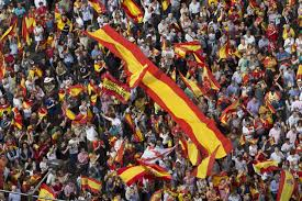 the latest protesters rally against catalan independence new