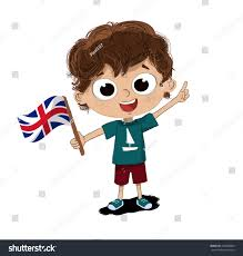 childs drawing flag england on hand stock illustration 421808866