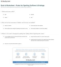 quiz u0026 worksheet rules for spelling suffixes u0026 endings study com