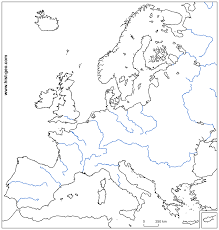 World Map Blank Map by European Rivers Blank Map