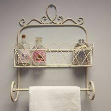 shabby chic metal wall basket shelf storage bathroom kitchen