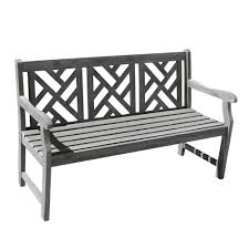Outside Benches Home Depot by Vifah Renaissance Hand Scraped Acacia Herringbone Back Patio Bench