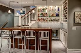 Kitchen Design With Basement Stairs Designs Ideas Unique Basement Bar With Wood Bar Table And Dark