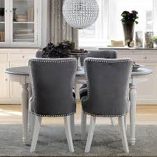 Grey Dining Chairs Distressed White Extending Oval Dining Table With