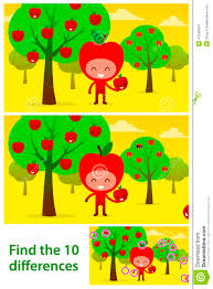 kids puzzle printable with cute apples iin orchard stock vector