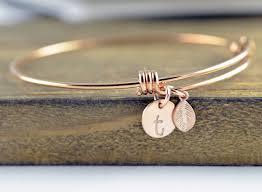 rose gold hand bracelet images Rose gold initial bracelet personalized hand stamped bracelet jpg