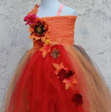thanksgiving custom custom made fall colors flower dress orange red brown