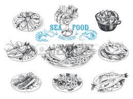 vector hand drawn illustration with seafood sketch mediterranean