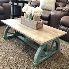 colored coffee tables chalk painted vintage wagon wheel coffee table rustic home