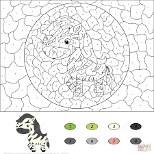 cute horse color by number free printable coloring pages