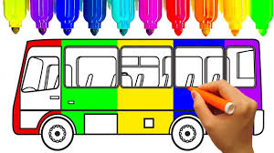 how to draw car bus coloring pages learn colors for kids