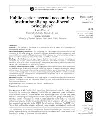 public sector accrual accounting institutionalising neo liberal