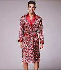 robe de chambre homme luxe printemps été automne nouvelle impression de luxe robe de soie mâle
