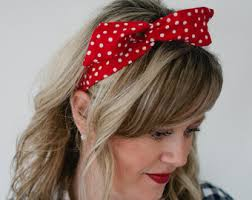 polka dot hair dolly bow wire headband hair bow with white dots wire