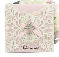 christening invitation diamante crosses on laser cut card www