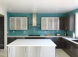 backsplashes aqua glass subway tile modern kitchen backsplash