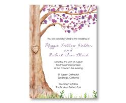 Invitation With Rsvp Card Watercolor Wedding Invitations Tree With Purple Heart Leaves