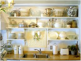 white kitchen cabinets shelves decorating with food collection in