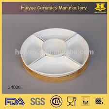 ceramic serving platter white party ceramic divided serving platter tray bamboo