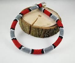 crochet beads necklace pattern images Snake necklace seed beads gray red black white pattern snake jpg